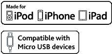 Apple MFi-sertifioitu. Yhteensopiva MicroUSB-laitteiden kanssa.